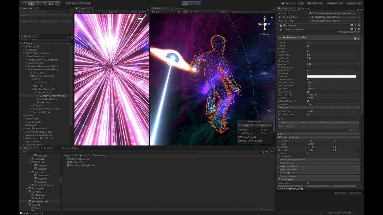 Use of Unity's Particle System resulted in stellar effects