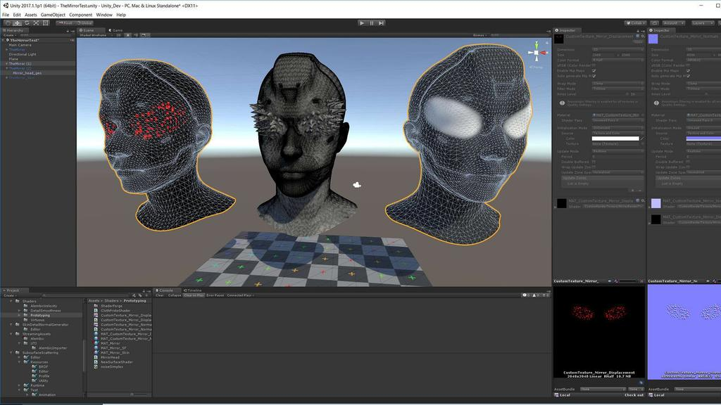 Vertex animation being generated in Unity, for the Mirror's eyes
