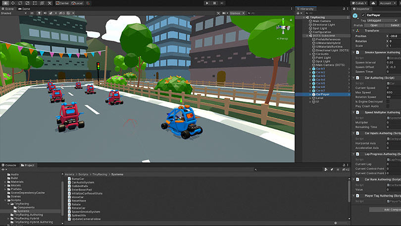 Tiny Racing Demo in Unity editor