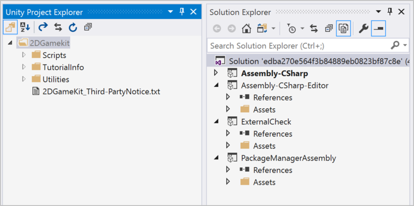 Navigate between Unity and Visual Studio with Unity Project Explorer