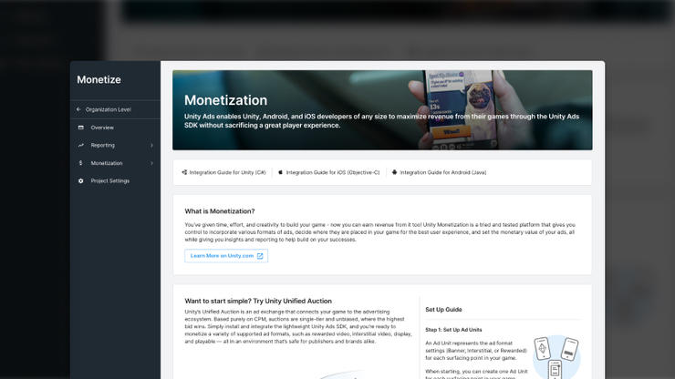 Unity Dashboard Monetization